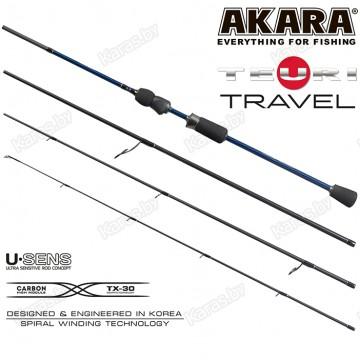 Спиннинг Akara Teuri Travel ML, углеволокно, штекерный, 2,28 м, тест: 4-17 г, 105 г