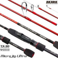 Спиннинг Akara SL1004 Micro Jig Ultra 662UL-S TX-30, углеволокно, штекерный, 2 м, тест: 0,5-6 г, 100 г
