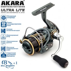 Безынерционная катушка  Akara Ultra Lite 1000. 8 ш.п. + 1 р.п.