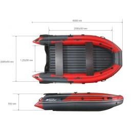 Надувная 7-местная ПВХ лодка Reef Скат 400 NDFI (Надувное дно, интегрированный фальшборт)