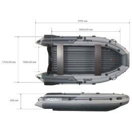 Надувная 5-местная ПВХ лодка Reef Скат 350 NDFI (Надувное дно, интегрированный фальшборт)
