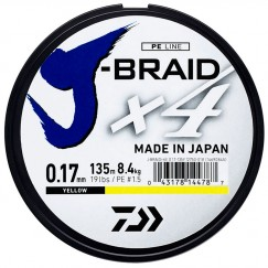 Леска плетёная Daiwa J-Braid x4 Yellow 135 м