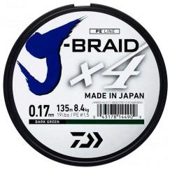 Леска плетёная Daiwa J-Braid x4 Dark Green 135 м