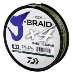 Леска плетёная Daiwa J-Braid x4 Dark Green 270 м