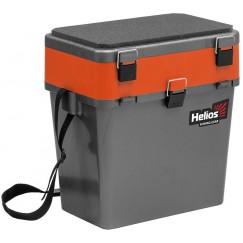 Ящик рыболовный зимний Helios 19 л (серый/оранжевый)