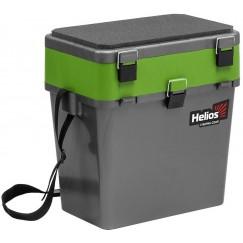 Ящик рыболовный зимний Helios 19 л (серый/салатовый)
