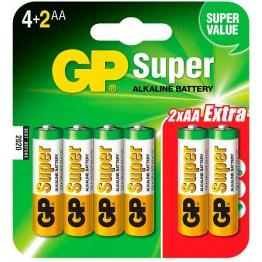 Батарейки GP Super Alkaline LR6/15A 6BP (4+2 шт, АА)