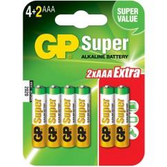 Батарейки GP Super Alkaline LR03/24A 6BP (4+2 шт, ААА)