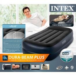 Надувная кровать Intex Pillow Rest 191 х 99 х 42 см c подголовником и встроенным насосом 220В (64122)