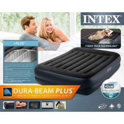 Надувная кровать Intex 64124 Pillow Rest c подголовником 152 х 203 х 42 (насос 220В)