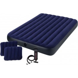 Надувной матрас Intex Classic Downy 203х152х25 см с 2 подушками и насосом (64765)