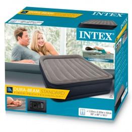 Надувная кровать INTEX 64136 Delux Pillow c подголовником 152 х 203 х 42 (насос 220В)