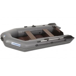 Надувная 2-ух местная ПВХ лодка Лоцман M-280 ЖС (серая)