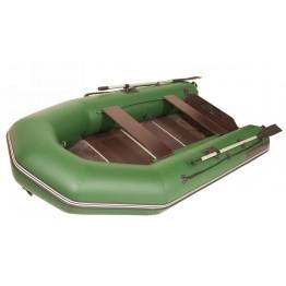 Надувная 3-х местная ПВХ лодка Лоцман M-300 ЖС (зеленая, киль)
