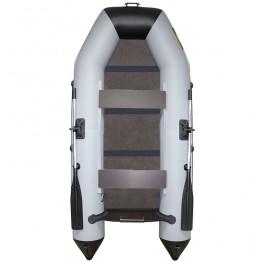 Надувная 2-местная ПВХ лодка Лодки Поволжья 2800 (серо-черная, жесткая слань)