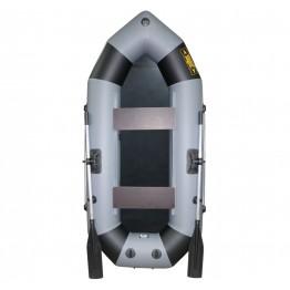 Надувная 2-местная ПВХ лодка Лодки Поволжья R-240 (серо-черная)