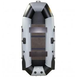 Надувная 2-местная ПВХ лодка Лодки Поволжья S-280 (серо-черная, жесткая слань)