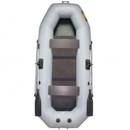 Надувная 2-местная ПВХ лодка Лодки Поволжья S-280 (серая, жесткая слань)