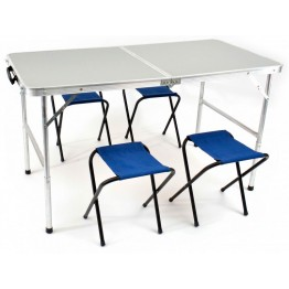 Набор складной мебели стол и 4 табурета НПО Кедр TABS-04V водостойкий 60х120 см (пластик)