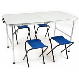 Набор складной мебели стол и 4 табурета НПО Кедр TABS-04 влагозащищенный 60х120 см
