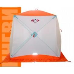 Палатка зимняя Пингвин Призма (1.85х1.85х1.75м, бело-оранжевая)