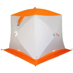 Палатка зимняя Пингвин Призма Премиум Термолайт трехслойная (2.15х2.15х2.0м, композит, бело-оранжевая)
