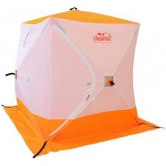 Палатка зимняя Следопыт КУБ 3 бело-оранжевая (1.8х1.8х2.0 м)