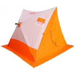 Палатка зимняя Следопыт 2-СКАТНАЯ бело-оранжевая (1.85х1.80х1.51 м)