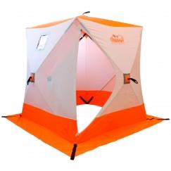 Палатка зимняя Следопыт КУБ 2 бело-оранжевая (1.5х1.5х1.7м)