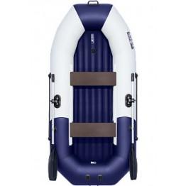 Надувная 2-местная ПВХ лодка Таймень NX 270 НД Комби (серо-синяя)