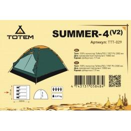 Туристическая палатка Totem Summer 4 V2