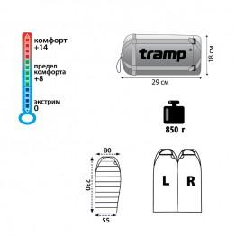 Ультралегкий спальный мешок Tramp Mersey v2 TRS-038 (0°C)