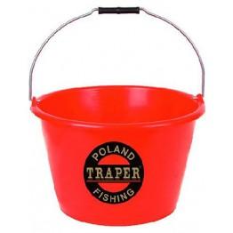 Ведро для прикормки Traper 17 л (красное)