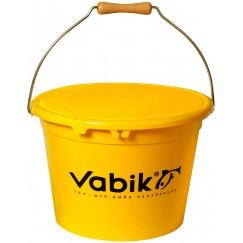 Ведро для прикормки с крышкой Vabik PRO 13 л жёлтое